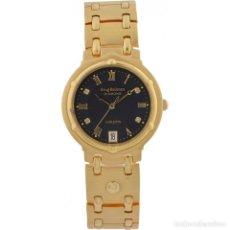 Relojes automáticos: KRUG BAUMEN CHARLESTON 4 DIAMANTES NEGRO CORREA DE LAMINADO ORO 24 K CON GARANTIA. Lote 127468231