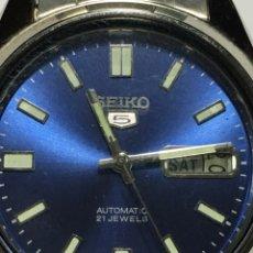 Relojes automáticos: RELOJ SEIKO N5 AUTOMÁTICO CON ESFERA ESPECIAL AZUL NUEVO DE FABRICA. Lote 139606346