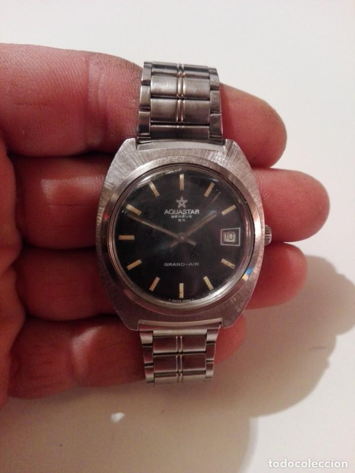 Automatic Watches: Antiguo y Precioso reloj automatico AQUASTAR geneve grand-air funcionando 37mm sin contar corona - Foto 3 - 139914046