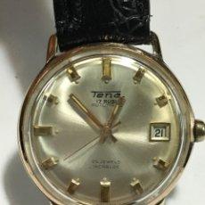 Relojes automáticos: RELOJ TENA AUTOMÁTICO 17 RUBIS CAJA CHAPADA ORO CON DIAL NUMÉRICO EN FUNCIONAMIENTO. Lote 143565921