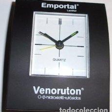 Relojes automáticos: RELOJ QUARTZ DE SOBREMESA A PILAS CON PUBLICIDAD DE MEDICINA, EMPORTAL Y VENORUTON. Lote 143788546