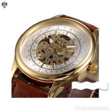 Relojes automáticos: RELOJ AUTOMATICO HOMBRE CAJA DE ACERO + CORREA CUERO. Lote 144834210