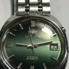 Relojes automáticos: RELOJ ORIENT AUTOMÁTICO 21 JEWELS EN ACERO COMPLETO ESFERA VERDE Y DIAL NUMÉRICO. Lote 147359764