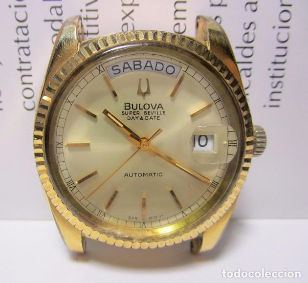 Relojes automáticos: ANTIGUO RELOJ BULOVA SUPER SEVILLE DAY DATE PRESIDENCIAL AUTOMATICO HOMBRE 37mm CHAPADO ORO VINTAGE - Foto 3 - 63604124
