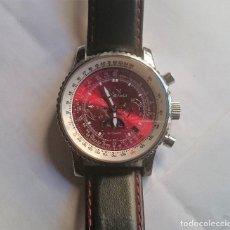 Relojes automáticos: HINDENBERG AIR FIGHTER ACERO ROJO PIEL . Lote 150154810