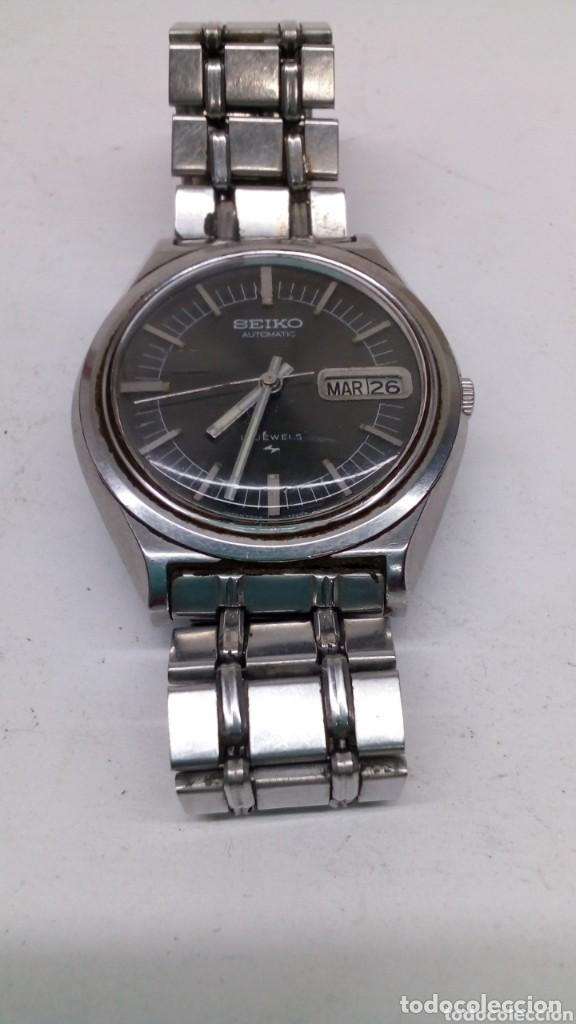Relojes automáticos: reloj seiko automatico esfera negra,boton bidericional para el doble vial funcionando - Foto 5 - 158024146