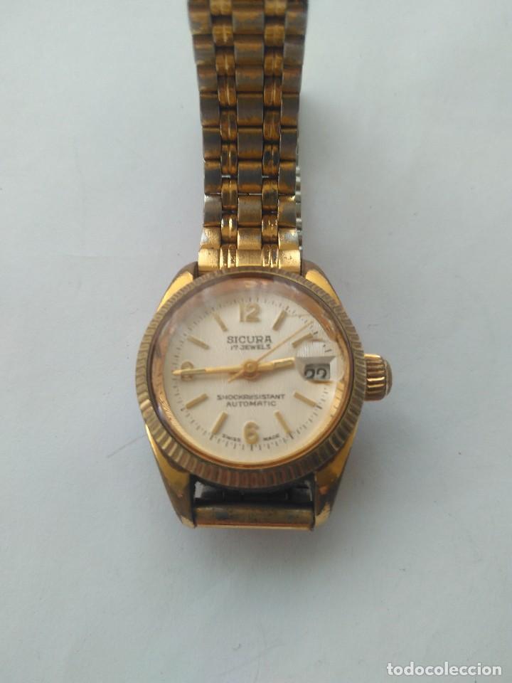 Relojes automáticos: Reloj SICURA 17 JEWELS SHOCKRESISTANT AUTOMATIC DATE SWISS MADE FUNCIONA PERFECTAMENTE - Foto 7 - 163909926
