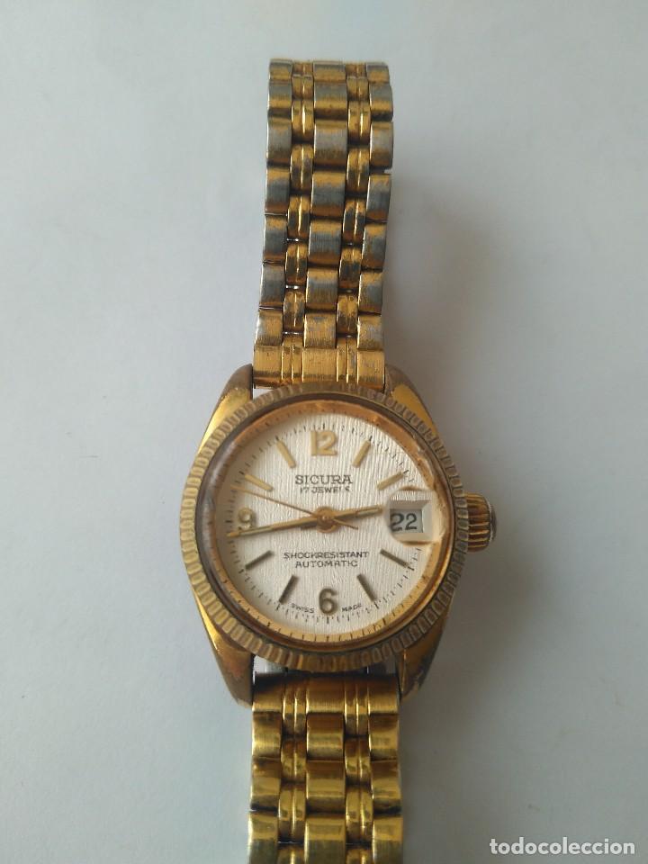 Relojes automáticos: Reloj SICURA 17 JEWELS SHOCKRESISTANT AUTOMATIC DATE SWISS MADE FUNCIONA PERFECTAMENTE - Foto 8 - 163909926
