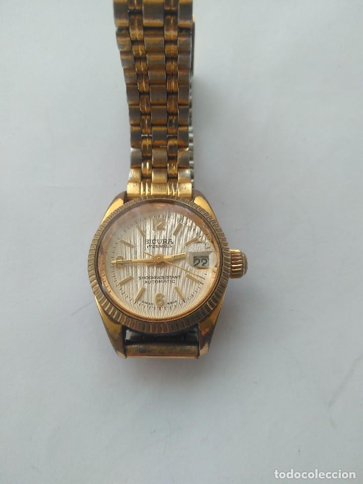 Relojes automáticos: Reloj SICURA 17 JEWELS SHOCKRESISTANT AUTOMATIC DATE SWISS MADE FUNCIONA PERFECTAMENTE - Foto 10 - 163909926