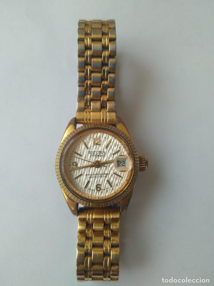 Relojes automáticos: Reloj SICURA 17 JEWELS SHOCKRESISTANT AUTOMATIC DATE SWISS MADE FUNCIONA PERFECTAMENTE - Foto 17 - 163909926