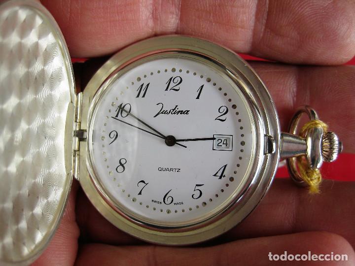 RELOJ DE BOLSILLO JUSTINA DE PLATA DE LEY PUNZONADO - MADE IN SUIZA QUARTZ (Relojes - Relojes Automáticos)