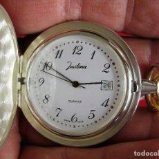Relojes automáticos: RELOJ DE BOLSILLO JUSTINA DE PLATA DE LEY PUNZONADO - MADE IN SUIZA QUARTZ. Lote 165626718