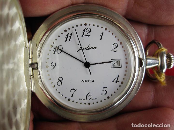 Relojes automáticos: RELOJ DE BOLSILLO JUSTINA DE PLATA DE LEY PUNZONADO - MADE IN SUIZA QUARTZ - Foto 2 - 165626718