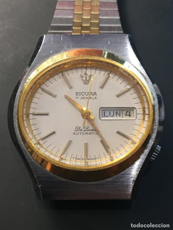 RELOJ DE PULSERA MARCA SICURA MODELO DE LUXE AUTOMATICO DAY-DATE AÑOS 70 , FUNCIONA (Relojes - Relojes Automáticos)