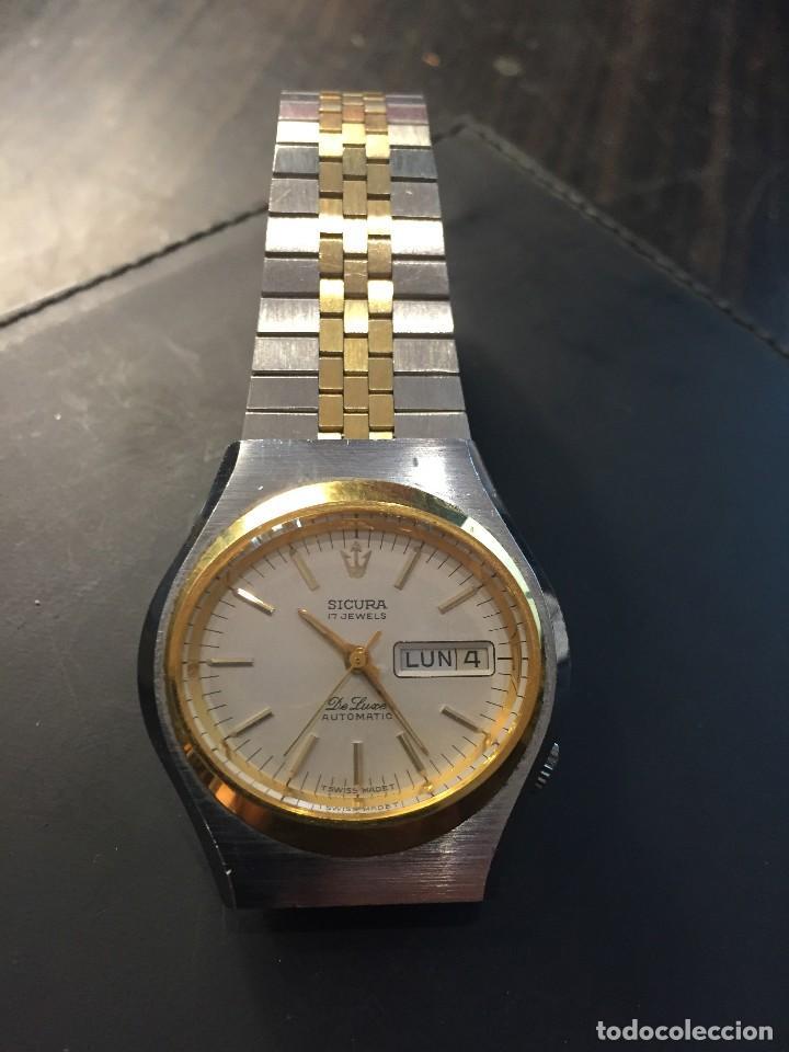 Relojes automáticos: RELOJ DE PULSERA MARCA SICURA MODELO DE LUXE AUTOMATICO DAY-DATE AÑOS 70 , FUNCIONA - Foto 2 - 171165918