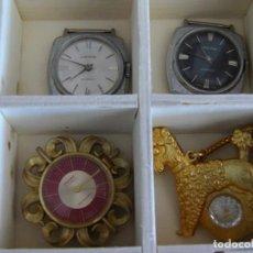 Relojes automáticos: GRAN LOTE DE 24 RELOJES SUIZOS AÑOS 60 SIN USO EN CAJA DE MADERA REVALORIZABLES. Lote 171547079