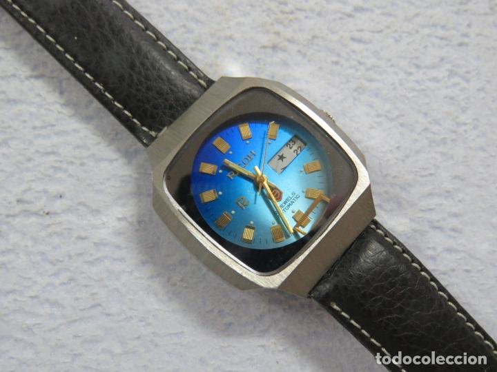 Relojes automáticos: RELOJ DE PULSERA MARCA RICOH AUTOMATICO DE 21 JOYAS, CORREA DE CUERO Y CALENDARIO, FUNCIONANDO - Foto 2 - 175486818