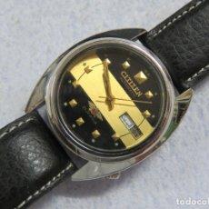 Relojes automáticos: RELOJ DE PULSERA MARCA CITIZEN AUTOMATICO DE 21 JOYAS, CORREA DE CUERO Y CALENDARIO, FUNCIONANDO. Lote 175490900