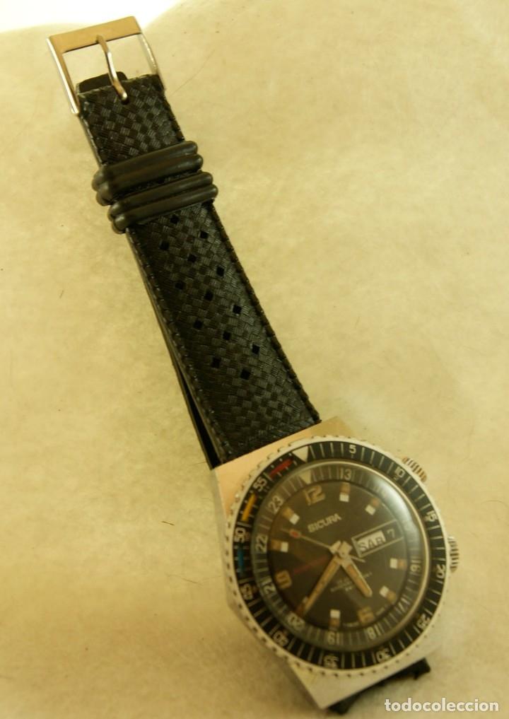 Relojes automáticos: SICURA AUTOMATICO TIPO DIVER FUNCIONANDO BLOQUEADOR BISEL GRUPO BREITLING - Foto 5 - 175820394