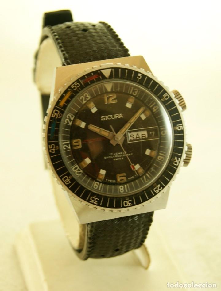 Relojes automáticos: SICURA AUTOMATICO TIPO DIVER FUNCIONANDO BLOQUEADOR BISEL GRUPO BREITLING - Foto 12 - 175820394