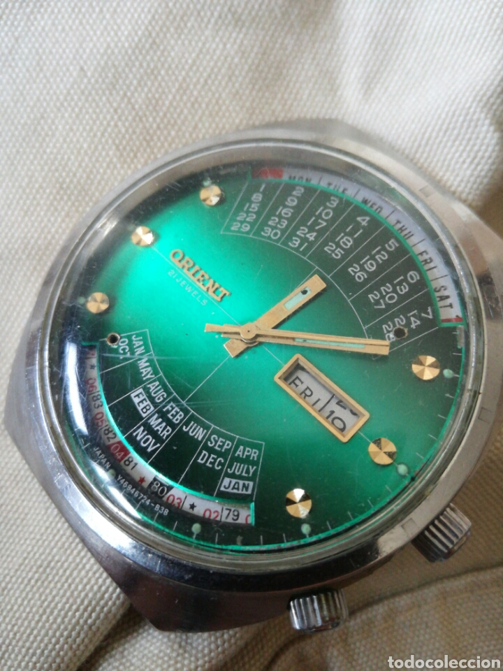 Relojes automáticos: Reloj Orient vintage Calendadario perpetuo Para reparar - Foto 11 - 176670382