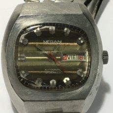 Relojes automáticos: RELOJ MERANI EN ACERO COMPLETO MAQUINARIA SWISS 2780 ETA EN FUNCIONAMIENTO. Lote 180024041