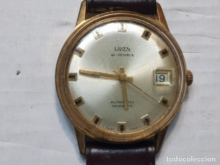 RELOJ ANTIGUO LAKEN 25 JEWELS CABALLERO FUNCIONANDO (Relojes - Relojes Automáticos)