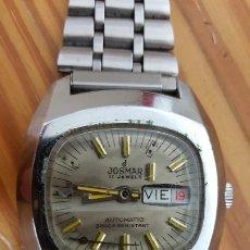 Relojes automáticos: RELOJ JOSMAR 17 JEWELS AUTOMÁTIC-SWISS MADE-SHOCK RESISTANT, FUNCIONA. MEDIDA SIN CORONA 37 MM. Lote 180849613