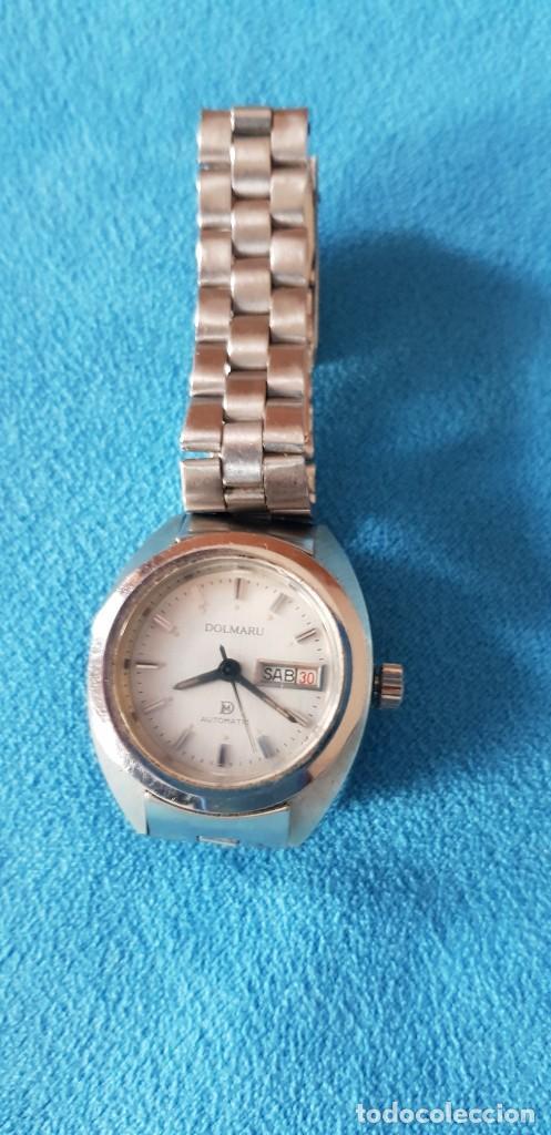 Relojes automáticos: 149-Reloj Dolmaru Sra., automático, calendario, semanario, 21 rubís, army original. - Foto 3 - 183668817