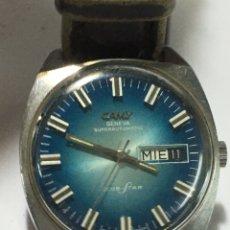 Relojes automáticos: RELOJ CAMY GENEVE SÚPER AUTOMÁTIC CLUB-STAR MAQUINARIA SWISS ESFERA AZUL ESPECIAL. Lote 184338340