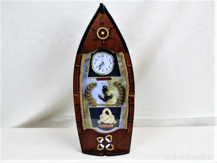 BONITO RELOJ DE PARED EN MADERA EN FORMA DE BARCO (Relojes - Relojes Automáticos)