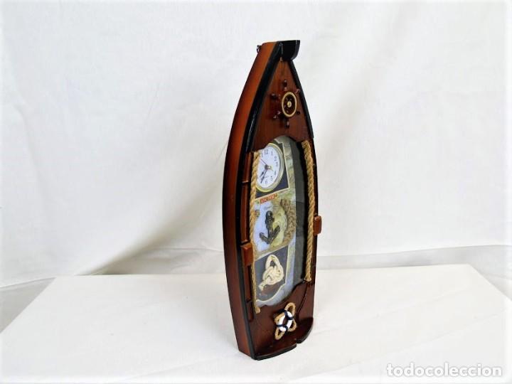 Relojes automáticos: Bonito reloj de pared en madera en forma de barco - Foto 5 - 194223810