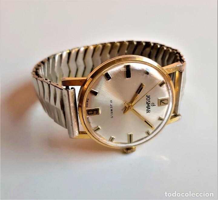 RELOJ JOSMAR SUIZO 17 JEWELS MECANICO - CAJA 35.MM DIAMETRO BANDA EXTENSIBLE METAL (FUNCIONA PERFECT (Relojes - Relojes Automáticos)
