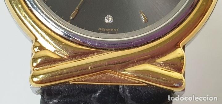 Relojes automáticos: RELOJ DE PULSERA. JUNGHANS. MODELO MEGA. CHAPADO EN ORO. 3 BRILLANTES. SIGLO XX. - Foto 8 - 175003682
