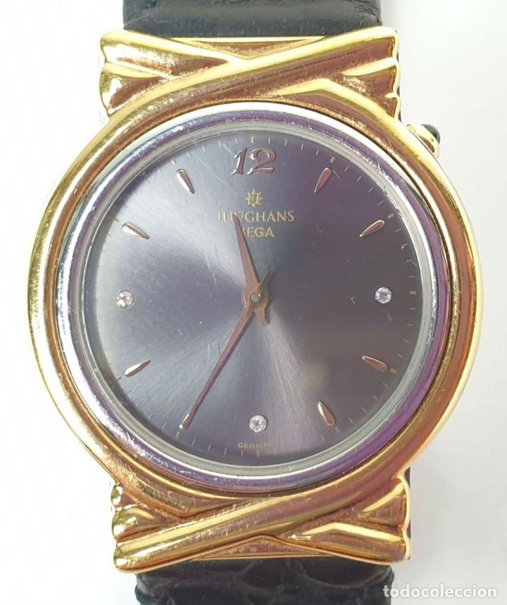 Relojes automáticos: RELOJ DE PULSERA. JUNGHANS. MODELO MEGA. CHAPADO EN ORO. 3 BRILLANTES. SIGLO XX. - Foto 9 - 175003682