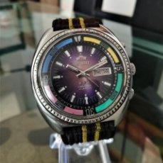 Relojes automáticos: ORIENT AUTOMATICO KD TRES TORNILLOS MORADO 4 BANDERAS 1975. . Lote 194906691