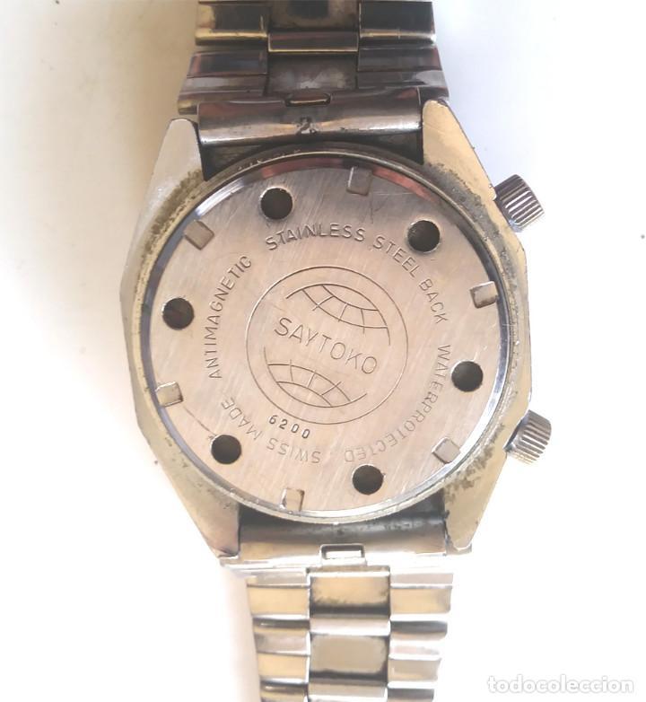 Relojes automáticos: Saytoko Suizo reloj pulsera con alarma, años 60 funciona. Med 40 mm sin contar corona - Foto 3 - 195359966