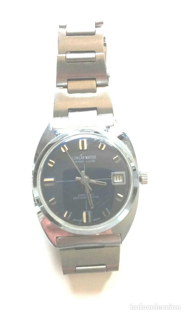 RELOJ LONLAY AUTOMÁTICO, CALENDARIO, FUNCIONA. MED. 35 MM SIN CONTAR CORONA (Relojes - Relojes Automáticos)