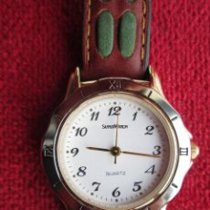 Relojes automáticos: RELOJ DE PULSERA SUPERWATCH DE QUARTZ - FUNCIONANDO - CORREA DE PIEL ORIGINAL- SIN ESTRENAR -. Lote 196148808