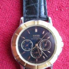 Relojes automáticos: RELOJ DE PULSERA DEPORTIVO RACER - FUNCIONANDO - CORREA DE PIEL GENUINA - SIN ESTRENAR -. Lote 196152217