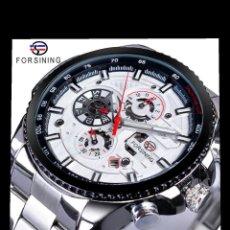 Relojes automáticos: RELOJ DE HOMBRE DEPORTIVO AUTOMÁTICO CON CALENDARIO. RELOJ DE PULSERA DE ACERO.. Lote 200737655