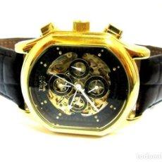Relojes automáticos: RELOJ PULSERA AUTOMATICO NUEVO TRIAS GOLDFB CUERO NEGRO. Lote 209167437