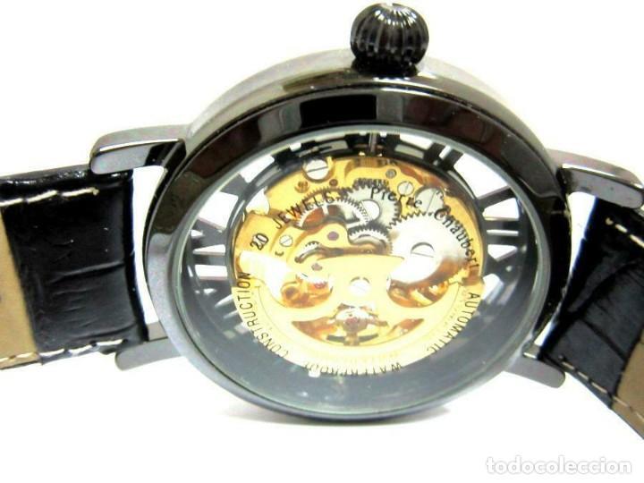 Relojes automáticos: Pierre Ch. - reloj de pulsera negro pulsera cuero negra . -nuevo (autom - Foto 8 - 209168038