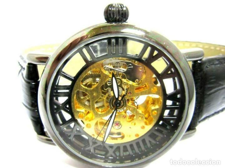 PIERRE CH. - RELOJ DE PULSERA NEGRO PULSERA CUERO NEGRA . -NUEVO (AUTOM (Relojes - Relojes Automáticos)