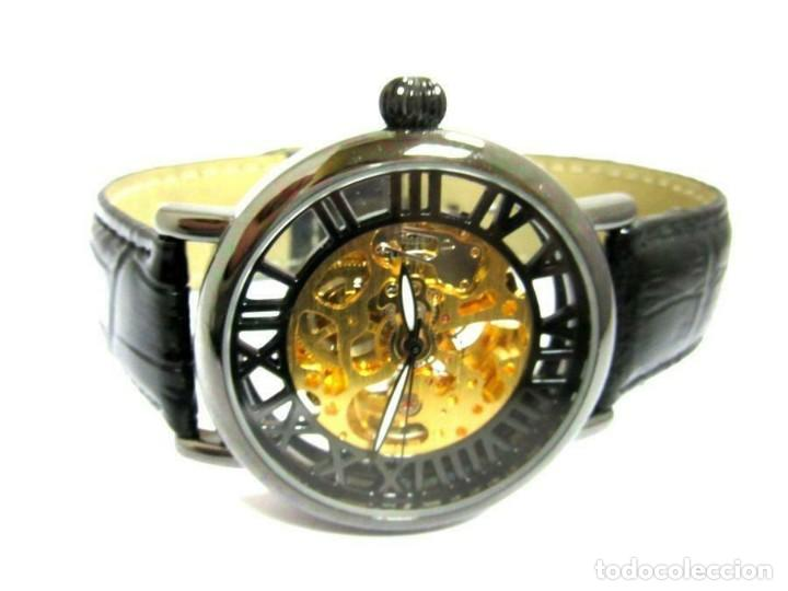 Relojes automáticos: Pierre Ch. - reloj de pulsera negro pulsera cuero negra . -nuevo (autom - Foto 3 - 209168038