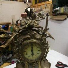 Relógios automáticos: RELOJ QUARZ SOBREMESA DE BRONCE CON ESCENA DE CAZA NO FUNCIONA, PESO 6 KG.. Lote 210259845