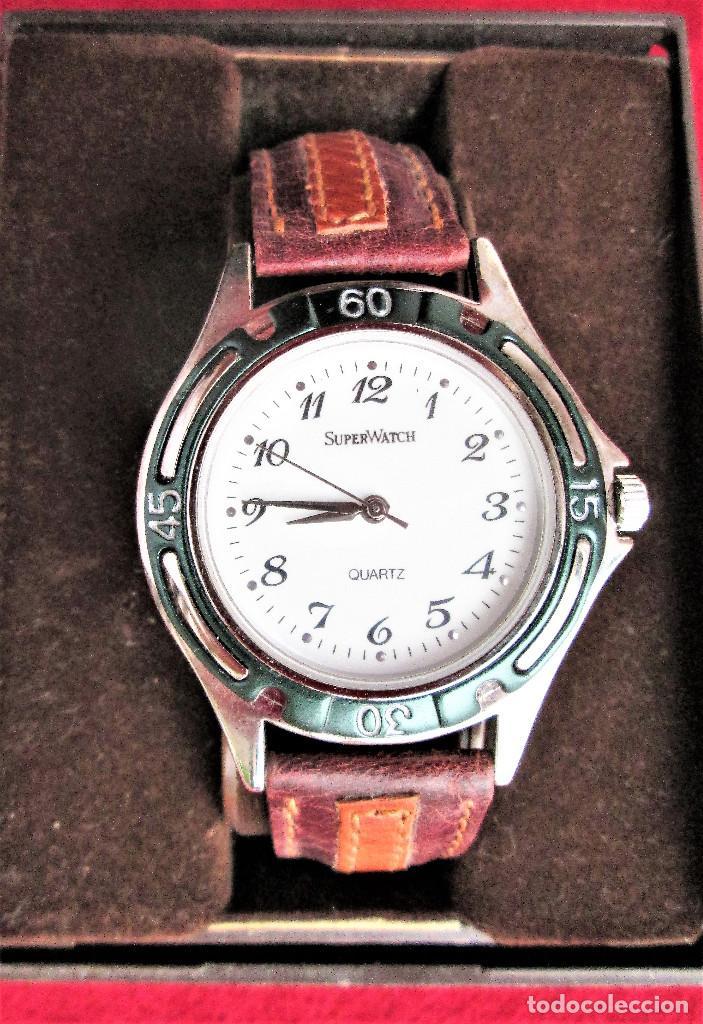 RELOJ DE PULSERA SUPERWATCH QUARTZ - FUNCIONANDO - SIN ESTRENAR, SIN RALLAR - CORREA DE PIEL (Relojes - Relojes Automáticos)