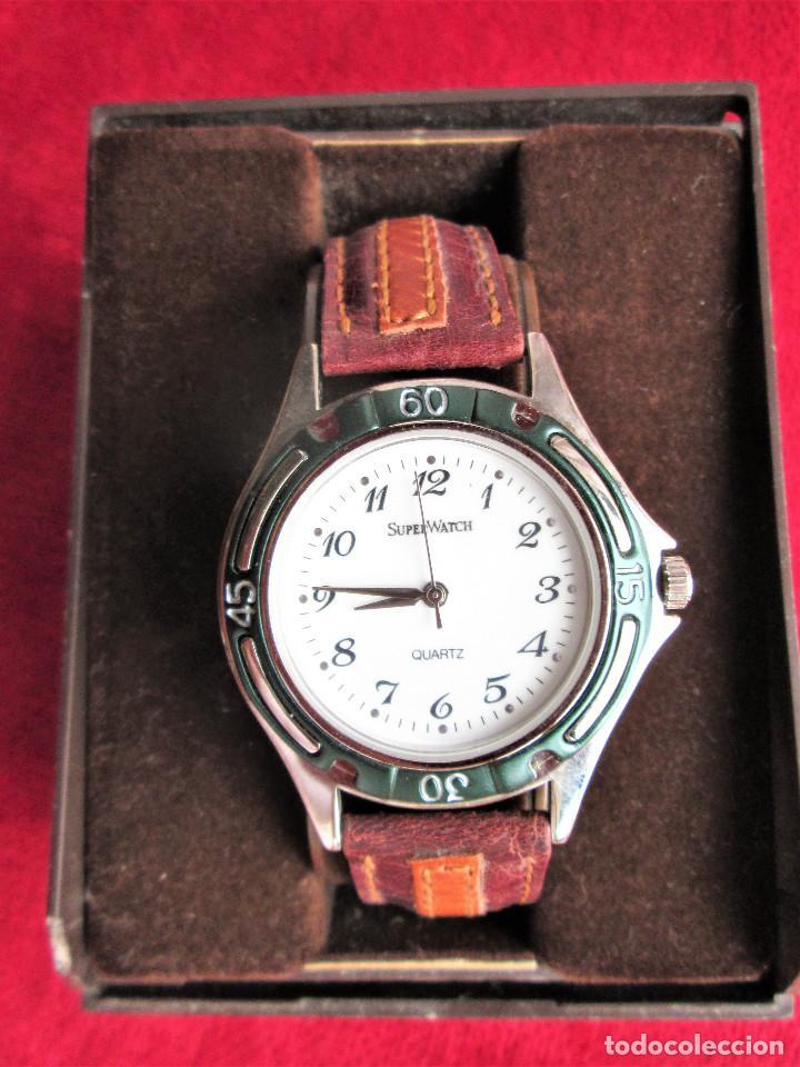 Relojes automáticos: RELOJ DE PULSERA SUPERWATCH QUARTZ - FUNCIONANDO - SIN ESTRENAR, SIN RALLAR - CORREA DE PIEL - Foto 2 - 210549478