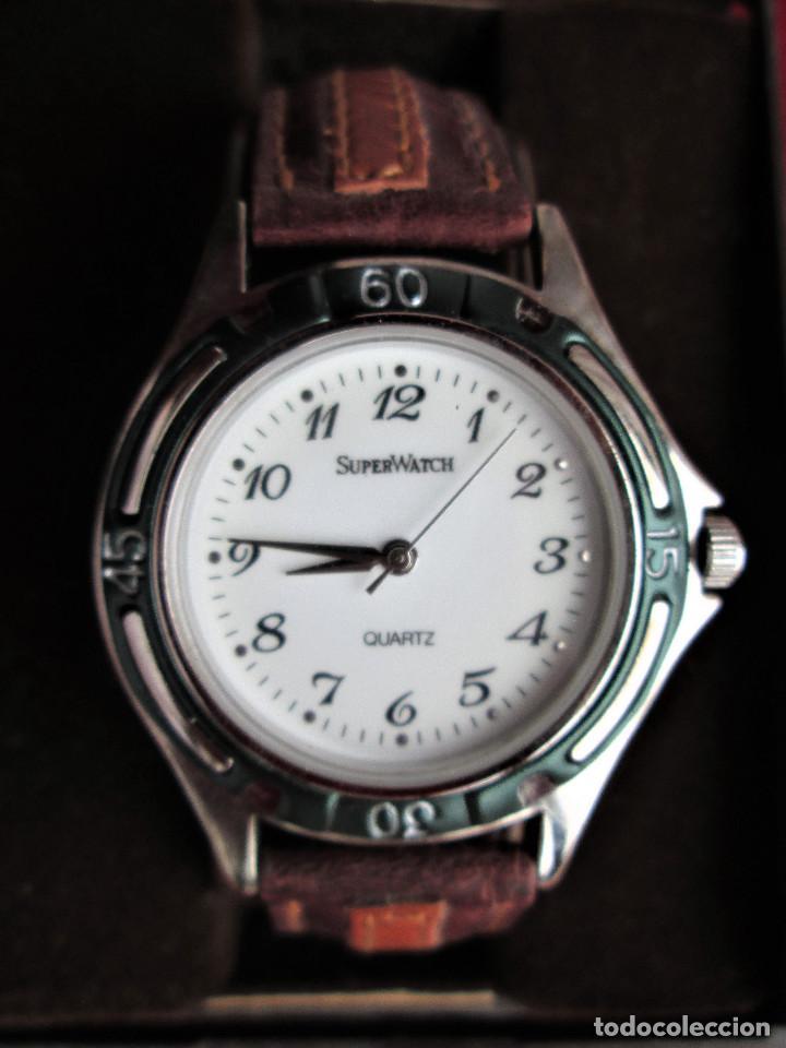 Relojes automáticos: RELOJ DE PULSERA SUPERWATCH QUARTZ - FUNCIONANDO - SIN ESTRENAR, SIN RALLAR - CORREA DE PIEL - Foto 3 - 210549478
