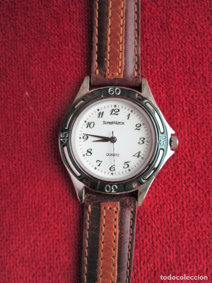 Relojes automáticos: RELOJ DE PULSERA SUPERWATCH QUARTZ - FUNCIONANDO - SIN ESTRENAR, SIN RALLAR - CORREA DE PIEL - Foto 5 - 210549478
